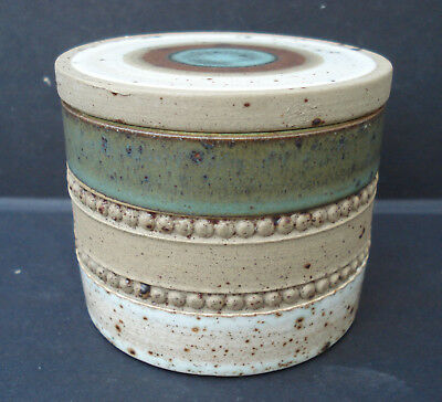 1970s DENBY GREEN POTTERS WHEEL LIDDED JAR BY DAVID YORATH