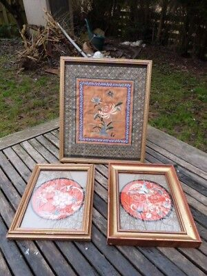 Three Lovely Vintage Chinese Embroidered Silk Needle Work.framed.