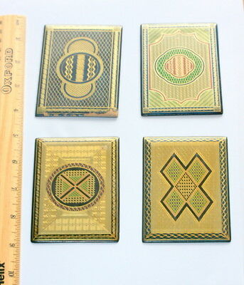 4 X  Stunning  Treen Card Case Etui Parts , Mauchlin Ware  Each 4 In X 2.5 In