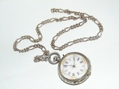 Pretty Working Antique 1880 Ornate Silver Cased Swiss Pocket Watch &silver Chain
