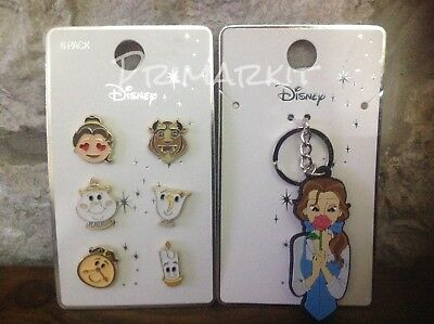 Disney Beauty And The Beast Pin Emoji Badge Set And Belle Keyring Primark
