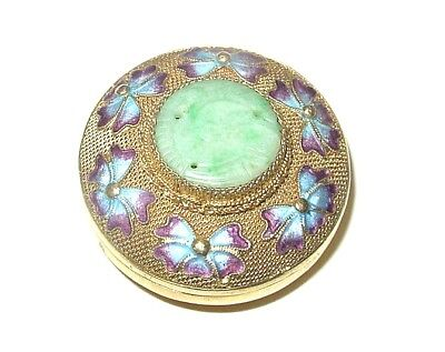 Vintage Enameled Filigree Chinese Silver Box w/ Carved, Pierced Jade Medallion