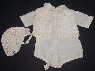 VTG Satin Boys Baptism Christening Outfit 3 Piece Vest Shortalls Cap Embroidered