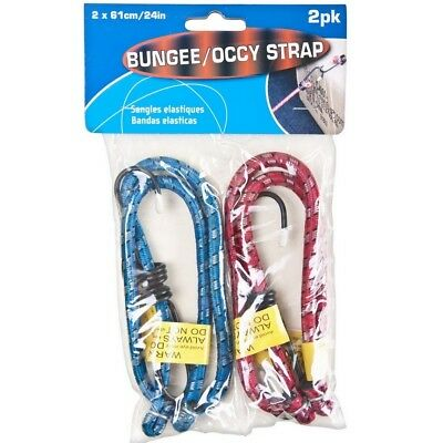 """2 x 24"""" 61cm Bungee Cords Straps Elasticated Strong Rope Hooks Luggage Car Rack"""