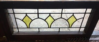 """Antique Stained Leaded Glass Transom Window 26"""" by 12""""  Circa 1925"""