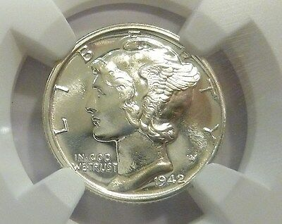1942 Mercury Dime(NGC) Tie 2nd Finest Graded Beaming Eye Frosty Blazing Proof 68