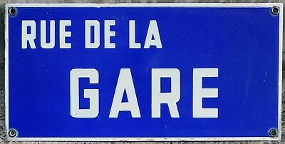 Old French enamel street sign plaque road name rue de la gare train station