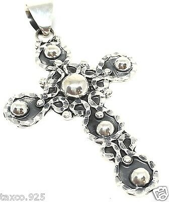 Vintage Style Taxco Mexican 925 Sterling Silver Beaded Bead Cross Pendant Mexico