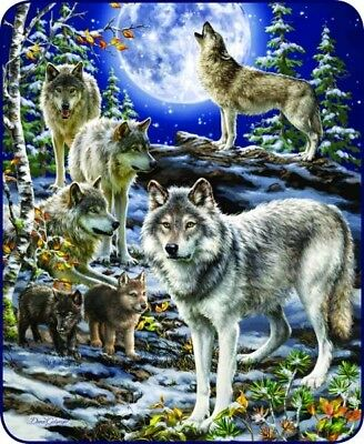 "The Spirit Of The Pack Wolf Wolves Faux Fur Queen Size Blanket 79"" x 96"" NEW"