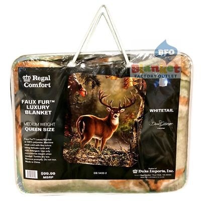 "White Tail Deer Buck Antlers Woods Faux Fur Queen Size Blanket 79"" x 96"" NEW"