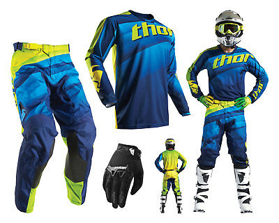 Thor Pulse Velow Motocross Combo mit Crosshose Jersey Handschuhe navy lime