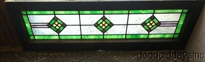 """Antique Stained Leaded Glass Transom Window 40"""" by 13"""" Circa 1925"""