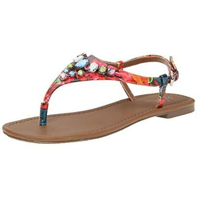 Wild Pair  Womens Frazier Faux Leather T-Strap Thong Sandals Shoes BHFO 8205