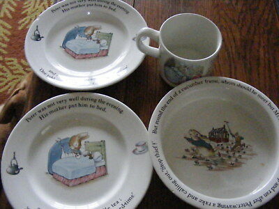 Job lot, batch of Peter Rabbit Wedgwood mug,side plates and dish and 3 egg cups