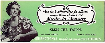 """Circa 1925 Small Advertising Sign KLEM THE TAILOR Owego NY """"Made-to-Measure"""""""