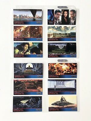 12 Cartes INDEPENDENCE DAY Topps Widevision 1996 avec pochettes classeur