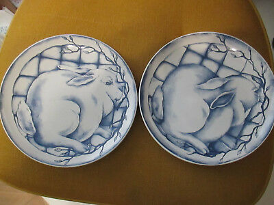 "Lot of 2 Boyds Rabbit Bunny Plates Wall Decoration Blue and white 8"" round"