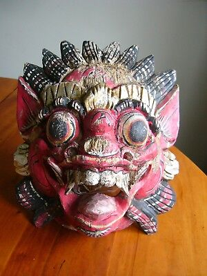 An Old Oriental Hand Carved Wooden Painted Dragon Mask - Chinese? Tibetan?