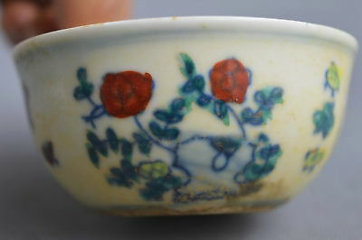 China Collection Handwork Old Chenghua Porcelain Paint Flower Rooster Lucky Bowl
