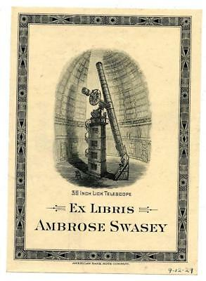 Ambrose Swasey 1929 Bookplate Engraving Etching American Bank Note Telescope