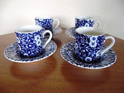 Four lovely blue and white Burleigh ware Calico cups and saucers