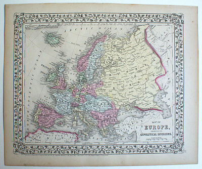 1867 Europe, Mitchell Antique Hand-Colored Map