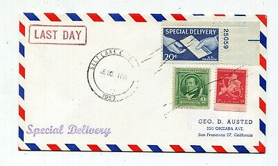 Two 1957 Air Mail Special Delivery Covers - Last Day 20c Special Delivery Rate