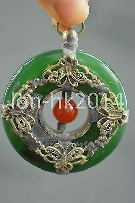 Collection Handwork Decorative Miao Silver Carve Butterfly Inlay Jade Pendant
