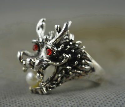 Collectable Handwork Decor Old Miao Silver Carve Dragon Bite Bead Exorcism Ring