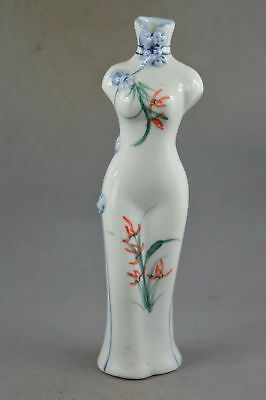 Collectable Handwork Decor Porcelain Carve Flower Cheongsam Auspicious Vase