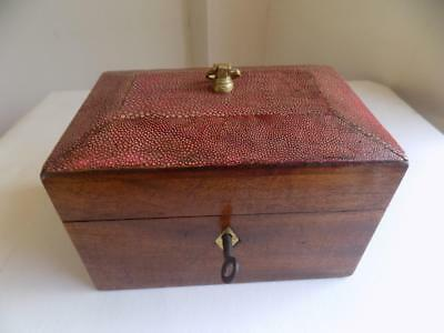 Art Deco Stunning Shagreen & Wood Large Tea Caddy, Original Key For The Lock