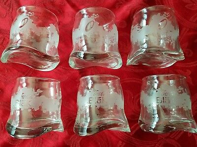 Coca Cola Blak Lot of 6 Frosted Etched Old Fashioned Glasses Coke New Boxed RARE