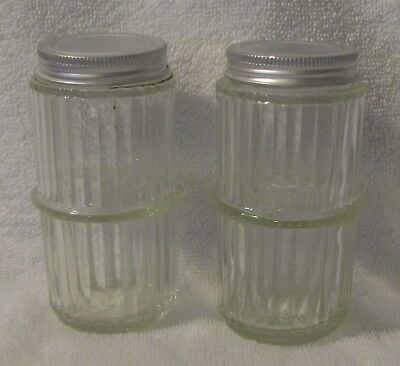 Seller Hoosier Cabinet Ribbed Spice Jars with Lids -- Total 2