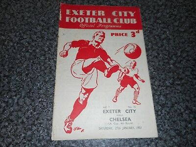 EXETER  CITY  v  CHELSEA  1950/1  F A CUP 4th  ~ JAN 27th  ***SCARCE*** FREEPOST