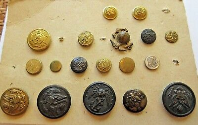 Carded Lot of 18 Antique Metal Military/ Uniform BUTTONS Marines & Others Mixed