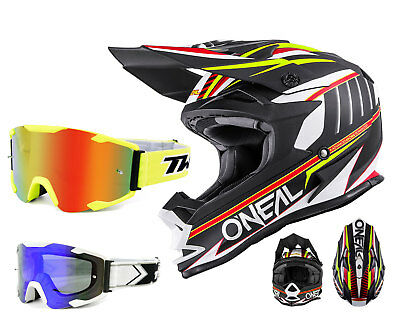Oneal 7Series MX Helm Chaser schwarz weiss Crosshelm mit TWO-X Bomb Crossbrille