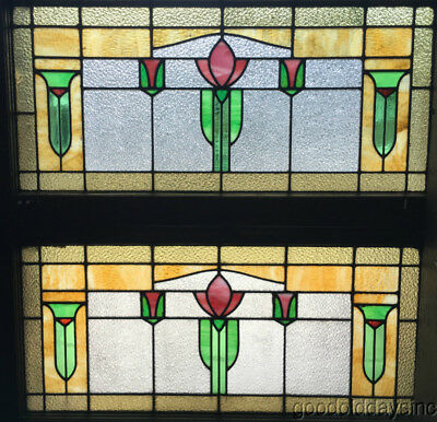 "Pair of Wonderful Stained Leaded Glass Transom Windows 44"" by 23"" Circa 1920"