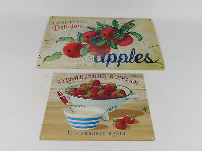 Metal Tin Sign Tennessee Delicious Apples / Strawberries & Cream