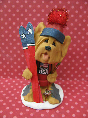 Handsculpted Yorkie Yorkshire Terrier USA Olympic Ski Dog Figurine