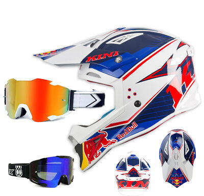Kini Red Bull Crosshelm Competition blau weiss mit TWO-X Bomb Brille Motocross