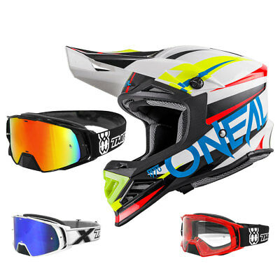 Oneal 8Series Aggressor Crosshelm Motocross weiss blau TWO-X Rocket Crossbrille