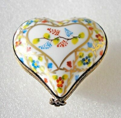 Pretty vintage Limoges heart shaped porcelain box blue red yellow flowers