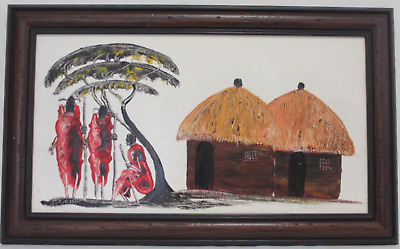 Signed African Painting on Canvas Masai Warrior Under Baobab Tree Hut Folk (690)