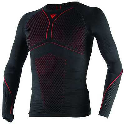 Dainese D-Core Thermo Adult 85% Dryarn Long-Sleeve Tee/T-Shirt, Black/Red, Large