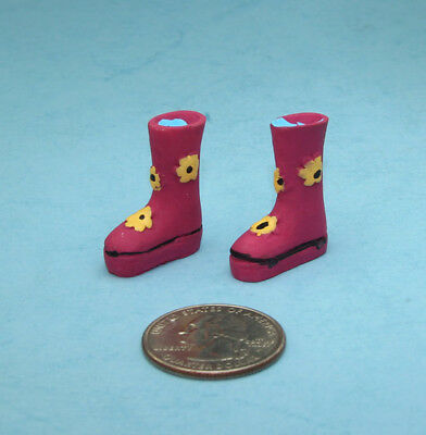 1:12 Scale Dollhouse Miniature Brown Ladies Victorian Boots #JLM158