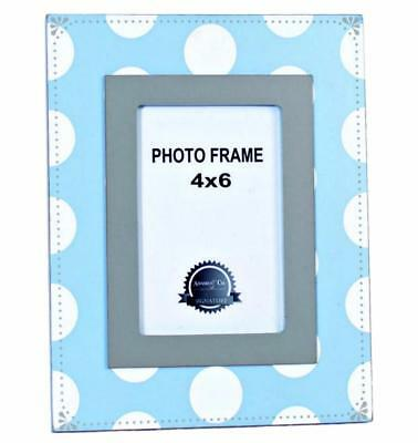 Baby Boys Photo Picture Frame Gray Blue White Polka Dot Wood Adams and Co NEW