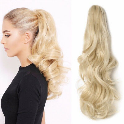 Clip in Ponytail Hair Extensions With Claw Bleach Blonde for Women AU Store RB3