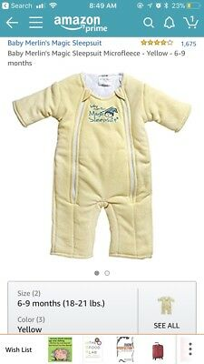 Baby Merlin's Magic Sleepsuit Size Large (6-9 mos) - Yellow