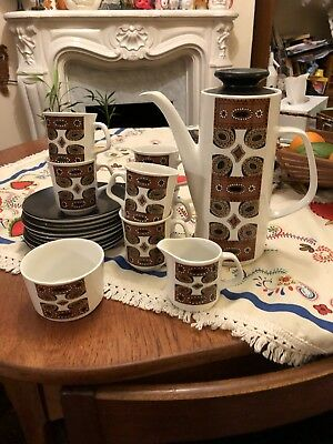 Vintage 1960s 70s J&G Meakin Maori Coffee Pot Tea Set Breakfast Kitchenalia