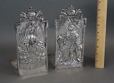 Pair Antique Victorian Silverplate Marie Antoinette King Louis XVI  Bookends